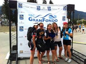 Dorothy, Andrea, Alli, Barb, and Melissa - Whistler GranFondo 2012