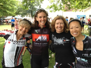 Jane, Cheryl, Barb and Dorothy celebrate at the finish.
